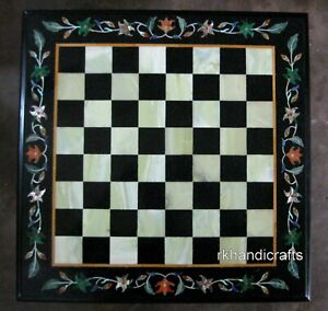 30 Inches Marble Coffee Table Cum Chess Board Table Top with Inlay Art at Border