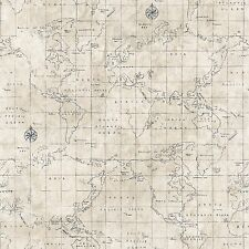 New Luxury World Map Wallpaper Design Blue / Grey / Beige