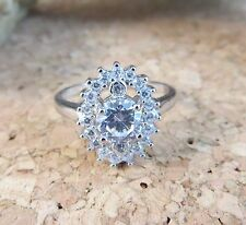 New In Box Genuine White Topaz Gemstone Sterling Silver Halo Ring Size 7 #501
