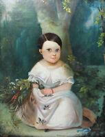 """Leopold Fertbauer - """"Kleines Mädchen in weißem Kleid mit Blumenstrauß"""""""