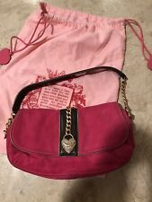 JUICY COUTURE GENUINE LEATHER HOT PINK GOLD CHAIN RHINESTONE BAG PURSE