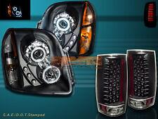 2007-2013 YUKON XL /DENALI CCFL HALO PROJECTOR HEADLIGHTS + LED TAIL LIGHTS BLK