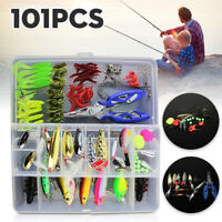 101Pcs/Set Fishing Lures Tackle Spinners Plugs Soft Bait Pike Trout Salmon Box