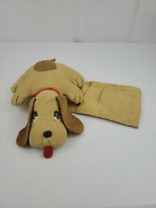 VTG Weighted Plush Puppy With Pockets For Remote Phone Living Or Bedroom Decor