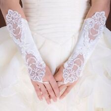 1 pair new Bridal Fingerless wedding gloves-white lace, with pearl & satin UK