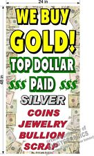 WE BUY GOLD SILVER JEWELRY  YELLOW TEXT  2' X 4' BANNER