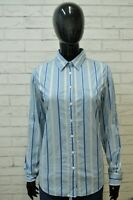 GANT Donna Camicia Camicetta Taglia M Maglia T-Shirt Righe Celeste Cotone Woman