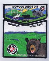 Boy Scout OA 243 Mowogo Centennial NOAC 2015 Black Border Set