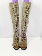"Free People Jeffrey Campbell Sz 8 ""Perspective"" Open Toe Lace Up Boots Tan Suede"