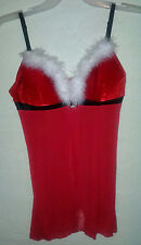 Christmas in July Sexy Lingerie Santa Red Nightie Sheer White Feathers Xmas 38C