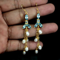 Marquise Swiss Blue Topaz 8x4mm White Pearl Baroque 925 Sterling Silver Earrings