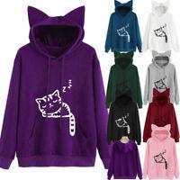 Womens Ladies Cat Long Sleeve Hoodie Sweatshirt Hooded Pullover Coat Tops Blouse