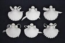 Mint 6 Medium Margaret Furlong Porcelain Bisque Christmas Shell Ornaments 1982