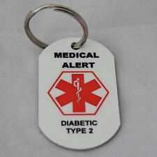 Medical Alert tag keyring for Diabetic Type 2
