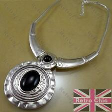 HEAVY ROUND COLLAR NECKLACE black PENDANT large FASHION ANTIQUE SILVER aztec