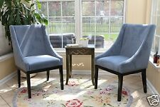 SET OF 2 Modern BLUE Arm Slipper Dining Sofa Chair Accent Living Room Furniture