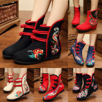 Women Soft Sole Comfort Chinese Embroidered Floral Cloth Boots Flat Shoes Casual