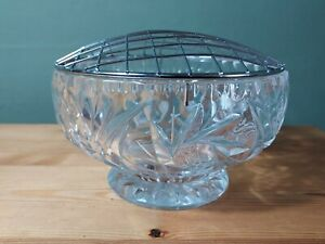 """Vintage 6"""" Cut Lead Crystal Glass Rose Bowl With Mesh Cover Star Decoration"""