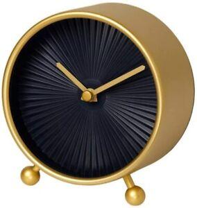 IKEA Snofsa Brass Colored Plastic Table Clock Analog Non-Ticking Quartz Battery