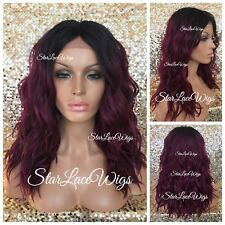 Lace Front Wig Burgundy Plum Dark Roots Wavy Middle Part Heat Safe Wig For Women