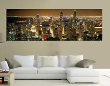 QUADRI MODERNI TELA 150X50 PAESAGGIO NEW YORK SKYLINE MANHATTAN PANORAMA ARTE