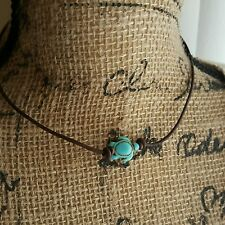 LEATHER TURQUOISE HOWLITE TURTLE & PEARL CHOKER & BRACELET SET $18.99