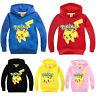 Kids Boy Girl Pokemon Pikachu Hoodie Sweatshirt Long Sleeve Casual T-shirt Tops