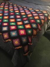Vtg Crocheted Granny Square Throw Blanket Afghan Rainbow On Black Twin Bd/couch
