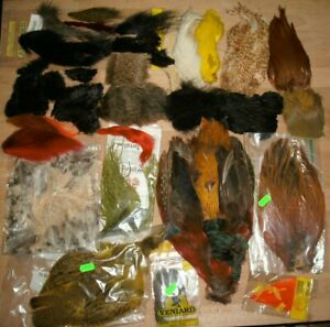 Job Lot Of FLY TYING MATERIALS. Mostly Animal Hides, Capes Feathers & Bird Pelts