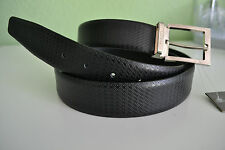 Canali Men's Textured Leather Belt Black New Made in Italy Size 32