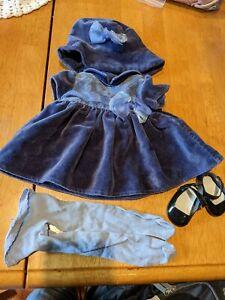 American Girl Bitty Baby Blue Velvet Holiday Dress Outfit Set Retired 2000