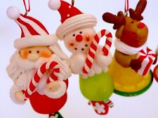 Unused VTG Sweetest CHRISTMAS TREE Set of 4 Resin Sugared Candy/Fruit ORNAMENTS