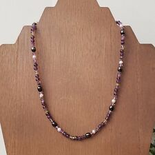 Sajen Sterling Silver 925 Amethyst Pearl Multi Gemstone Small Beaded Necklace