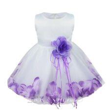 Flower girls Dress Skirt Clothing Wedding Wear Petals Dresses Bow Knot Sash Kid