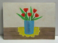 ACEO Original Miniature Painting, TULIPS IN A BLUE VASE, Mixed Media, 3.5x2.5in