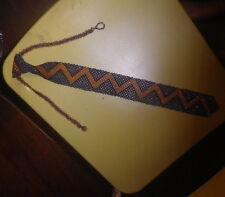Vintage Beaded orange blue 1970s -1980s Disco Tie Necklace -NZ  Estate - rare