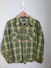 Vintage Pendleton Plaid Flannel Wool Board Shirt Loop Collar Men's Large Green