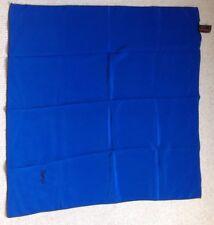 Splendido YSL YVES SAINT LAURENT BLUE SQUARE Sciarpa di seta con bordo Nero & LOGO
