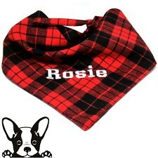 Personalised Embroidered Dog Bandana Black & Red Tartan Tie on Large Dog