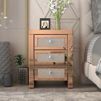 Mirrored End Table with 3 Drawers Accent Side Table Golden Finished Nightstand