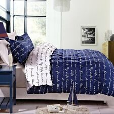 Full/Queen Duvet Cover 3-piece Set Reversible Bedroom Blue White Hidden Button