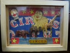 Original unusual framed Circus fairground art collage vintage toy Ken Cornwell