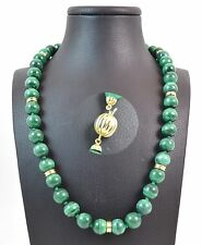 Collana in Malachite Naturale con chiusura e intercalari in oro Made in Italy