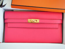 Authentic NEW Hermes Kelly Long Wallet Rose Lipstick Pink Cherve Gold GHW Clutch