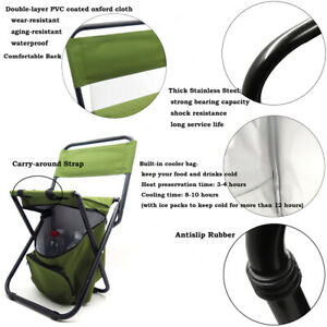 New Multi-use Backrest Chair Stool with Cooler Bag Hiking Fishing Camping Picnic