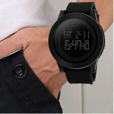 Fashion Black Sports Rubber Band Men's Digital Army Military Quartz Wrist Watch