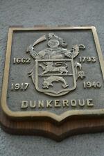 ANCIEN BLASON MURAL BRONZE AUX ARMOIRIES DE DUNKERQUE 1919 1940