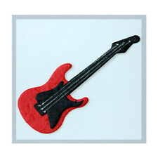 4 x DIE CUT MULBERRY PAPER GUITARS - BLACK/RED CARD MAKING CRAFT EMBELLISHMENTS