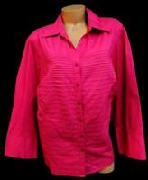 Signature by Larry Levine pink pleated 3/4 sleeves women's buttoned down top 3X