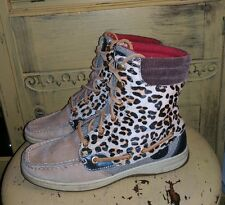 SPERRY TOP-SIDER COW FUR LEATHER LEOPARD ANKLE BOOTS LADIES 6.5 7 M BROWN LINED